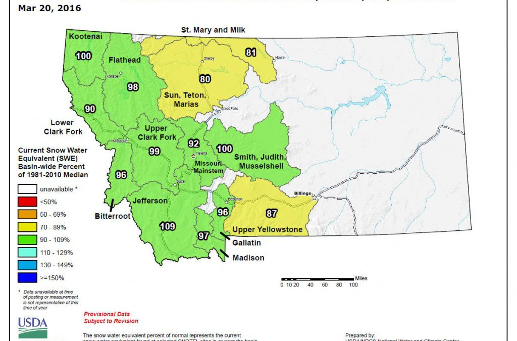 Montana Snotel data for Mar 20, 2016 – good news